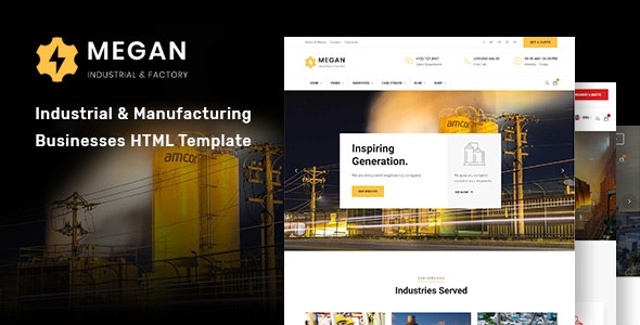 Megan - Industrial & Manufacturing Businesses HTML Template - Business Corporate