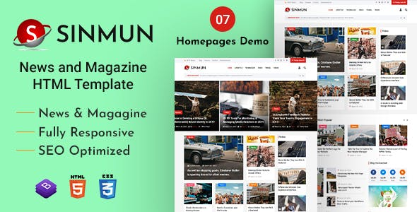 Sinmun - News and Magazine HTML Template nulled theme download