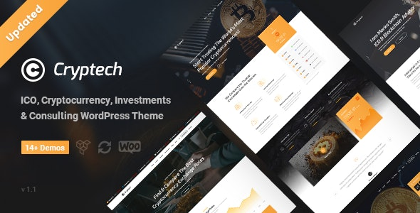 Cryptech - ICO and Cryptocurrency WordPress Theme - Technology WordPress