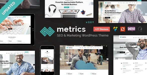 Metrics - SEO, Digital Marketing, Social Media WordPress Theme - Marketing Corporate