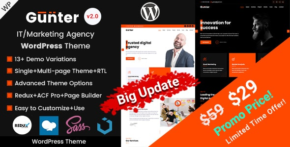 Gunter - IT and Marketing Agency WordPress Theme - Corporate WordPress