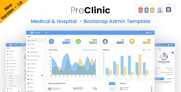 Preclinic - Hospital, Medical & Clinic Management Bootstrap Admin Dashboard Template - Admin Templates Site Templates