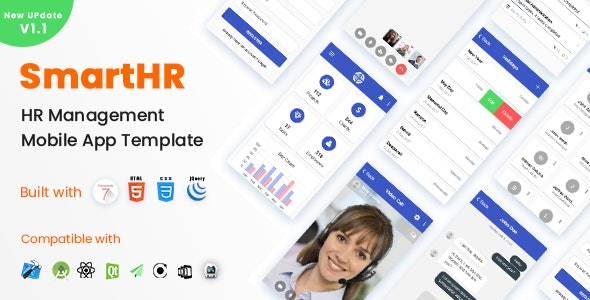 SmartHR - HR, Payroll, Project & Task Management Mobile App Template (Framework7 + Bootstrap4 + PWA) - Mobile Site Templates