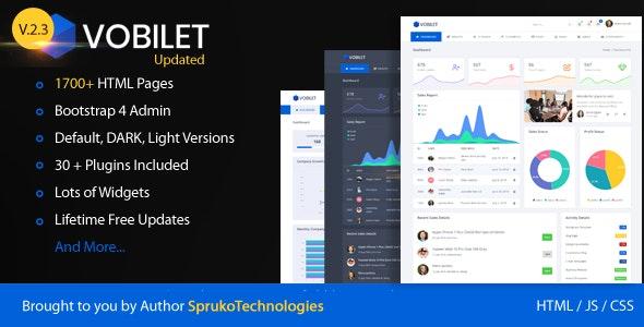 Vobilet – Responsive Bootstrap 4 Admin Dashboard Template. - Admin Templates Site Templates