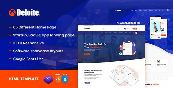 Deloite - Multi Concept Software & App Landing HTML5 Template nulled theme download