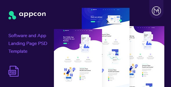 Appcon - Software and App Landing Page PSD Template - Software Technology