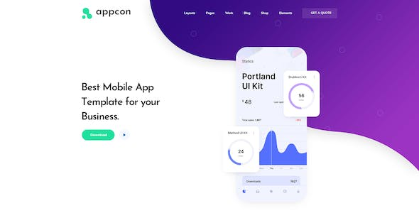 Appcon - Software and App Landing Page PSD Template