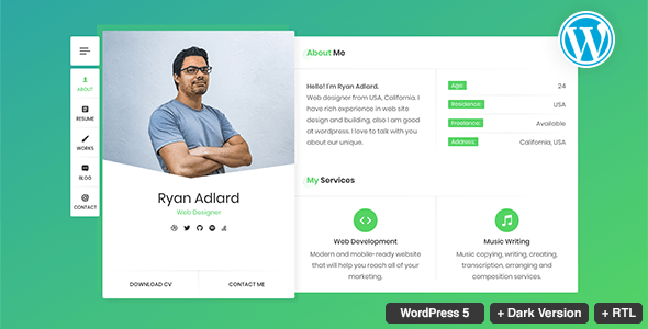 RyanCV Resume/CV/vCard Theme