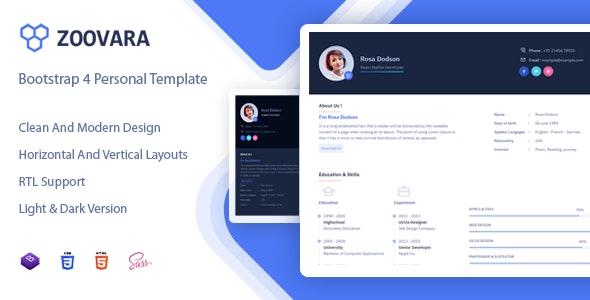Zoovara - Personal Resume / CV Template by Mannat-Themes ...