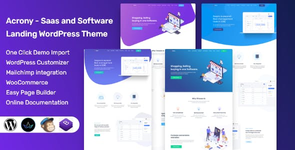 Acrony - SaaS and Software Landing WordPress Theme nulled theme download