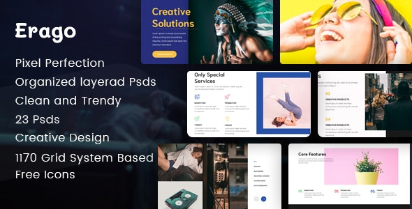 Erago - Startup and Creative Multipurpose PSD Template - Creative Photoshop