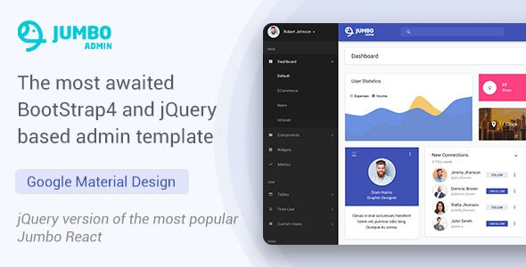 BootStrap 4 jQuery Admin Template - Jumbo - Admin Templates Site Templates