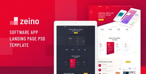 Zeino - Software App Landing Page PSD Template - Technology Photoshop
