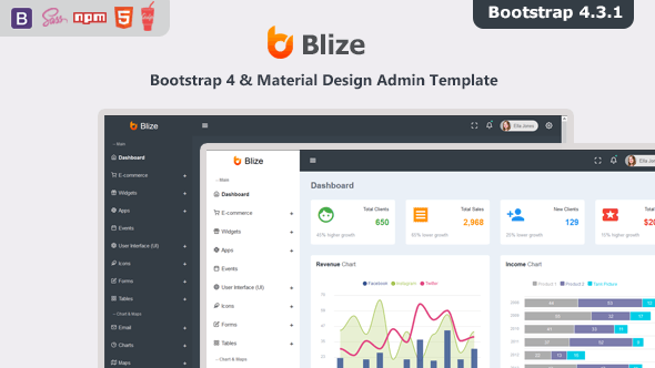 Blize - Bootstrap 4 Material Design Admin Dashboard Template - Admin Templates Site Templates