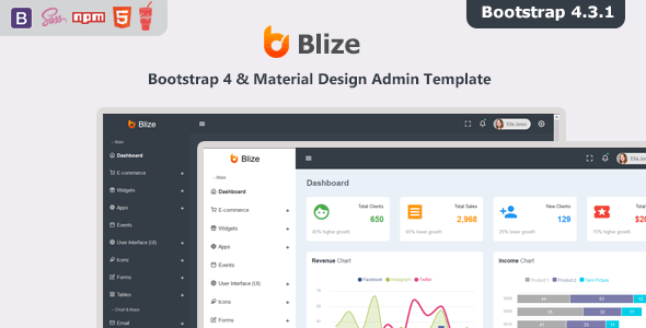 Bootstrap eCommerce Backend HTML Admin Website Templates