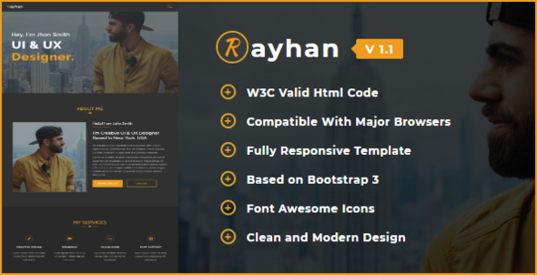 Rayhan - Responsive One Page Portfolio Template by HasnaaDesign