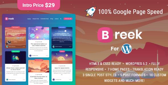Breek - Minimal Masonry Theme for WordPress - Personal Blog / Magazine