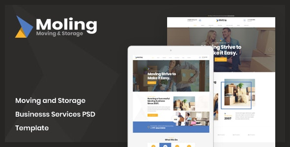 Moling - Moving and Storage Business Services PSD Template - Business Corporate