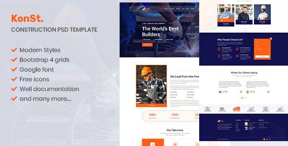 konst - Construction & Builders PSD Template - Business Corporate