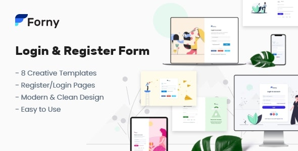 Forny - Login and Register Form Templates by arasari