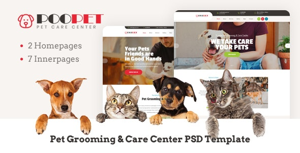 Poopet - Pet Grooming & Care Center PSD Template - Retail Photoshop
