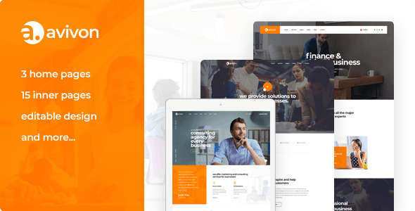 Avivon - Pure Business Consulting & Finance PSD Template - Business Corporate