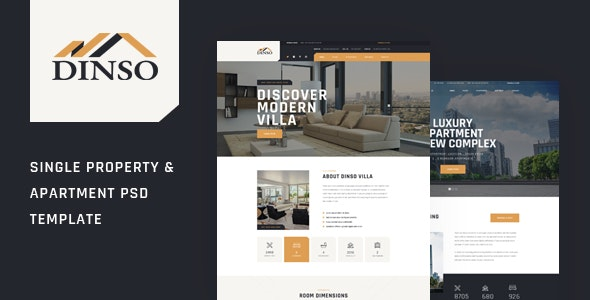 Dinso - Single Property & Apartment PSD Template - Retail Photoshop