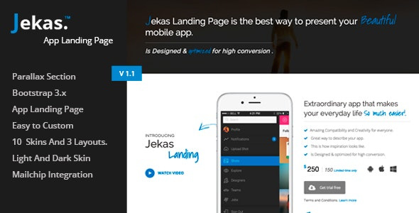 Jekas - Responsive Bootstrap 3 App Landing Page - Apps Technology