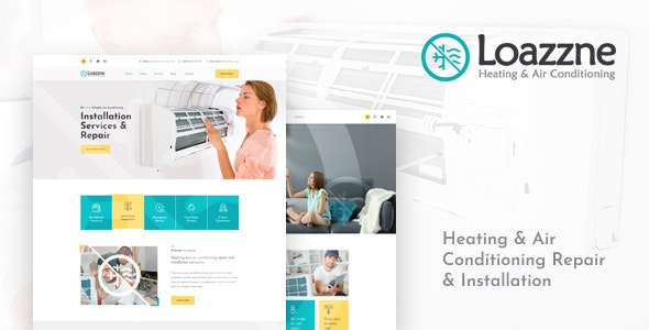 Loazzne - Heating & Air Conditioning Repair & Installation Services PSD Template - Business Corporate