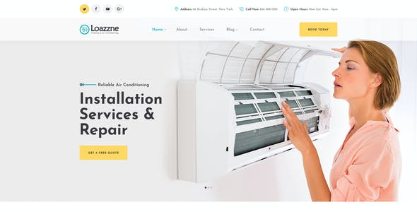 Loazzne - Heating & Air Conditioning Repair & Installation Services PSD Template