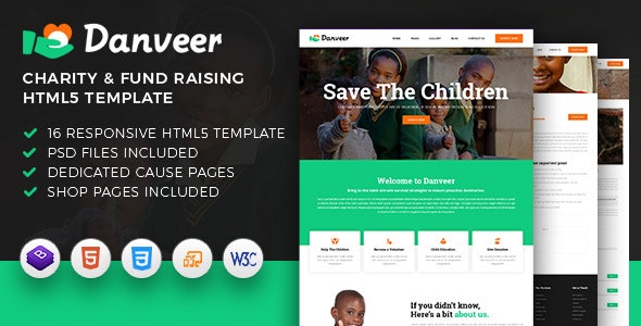 Danveer | Charity & Fund Raising Responsive HTML5 Template - Charity Nonprofit