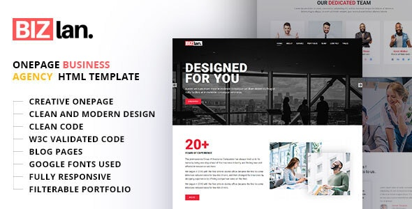 Bizlan - Onepage Business HTML Template - Business Corporate