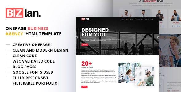 Bizlan - Onepage Business HTML Template