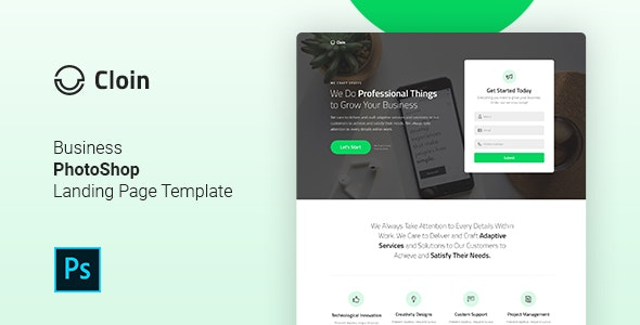 Cloin - Business Leadgen PSD Landing Page Template - Marketing Corporate