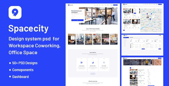 Spacecity - Design System PSD for Office Space, Workspace & Co-working - Photoshop UI Templates