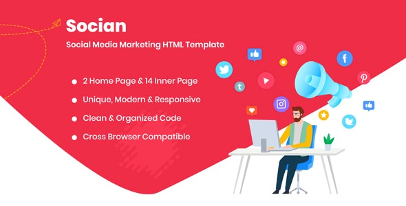 Socian - Social Media Marketing HTML Template - Business Corporate