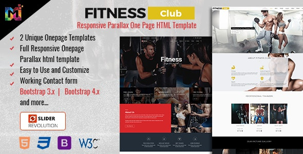 FIT - Responsive Parallax One Page HTML Template - Health & Beauty Retail