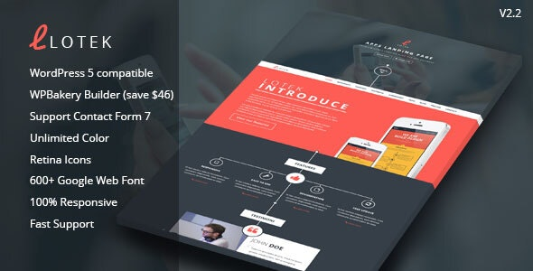 Lotek — Modern App Landing Page WordPress Theme - Marketing Corporate