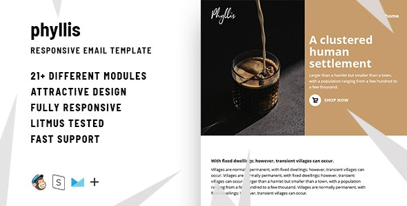 Phyllis – Responsive HTML Email + StampReady, MailChimp & CampaignMonitor Compatible Files - Email Templates Marketing
