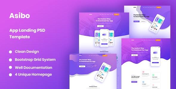 Asibo - App Landing PSD Template - Software Technology