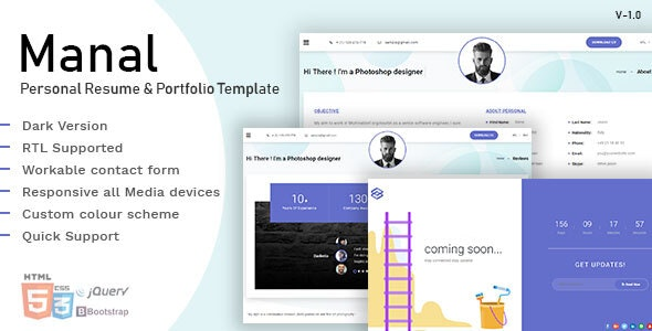 Manal Personal CV Resume Portfolio Template - Resume / CV Specialty Pages
