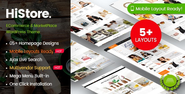 HiStore - Fashion Shop, Furniture Store eCommerce MarketPlace WordPress Theme (Mobile Layouts Ready) - WooCommerce eCommerce