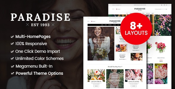 Paradise - Flower Shop WordPress WooCommerce Theme (8+ Homepages Ready) - WooCommerce eCommerce