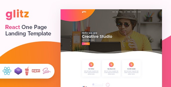 Glitz - React Landing Page Template by AazzTech