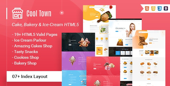 Cool Town | Ice Cream Bakery HTML5 Template - Food Retail
