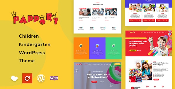 Pappory - Children Kindergarten WordPress Theme - Education WordPress