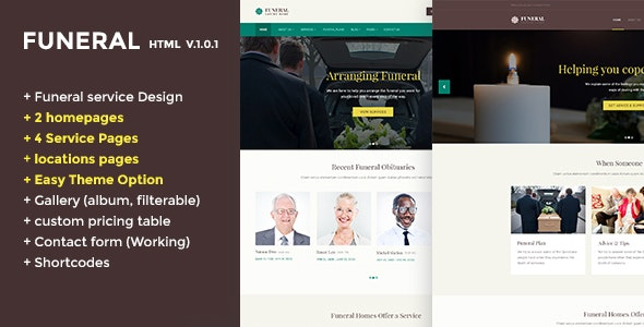 Funeral Caring Home Service Website Template - Nonprofit Site Templates