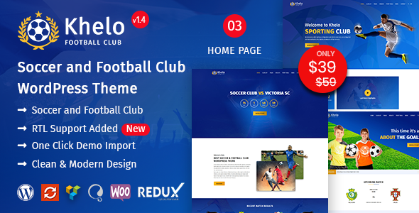 Khelo - Soccer & Football Club WordPress Theme - Entertainment WordPress