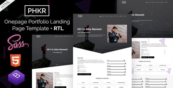 Phkr - Black and White Portfolio HTML Template