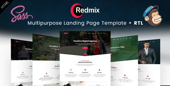 Redmix- Creative Digital Agency Landing Page HTML Templates - Business Corporate